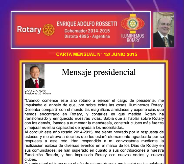 Carta Mensual de Junio/2015