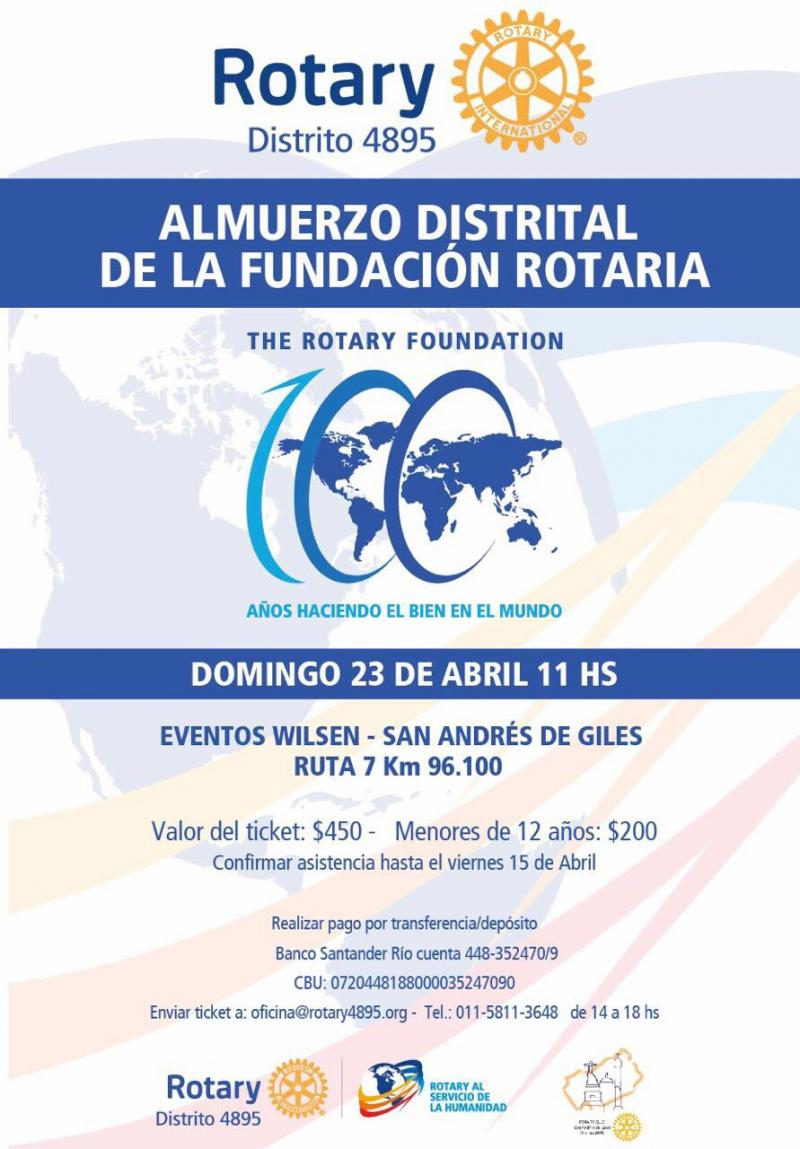 Flyer de Almuerzo a beneficio de LFR