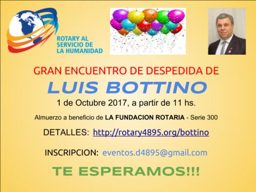 Flyer Encuentro de Despedida de Luis Bottino